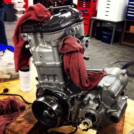DRZ Engine Rebuild - Head attached and the engine almost completely assembled
